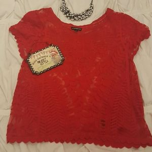 EXPRESS• Red lace blouse• XS